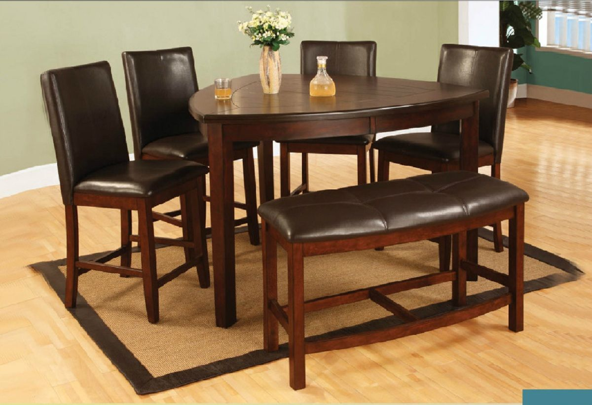 6 Pieces Triangle Counter Height Dining Set With Bench Counter Height Dining Table Set Counter Height Dining