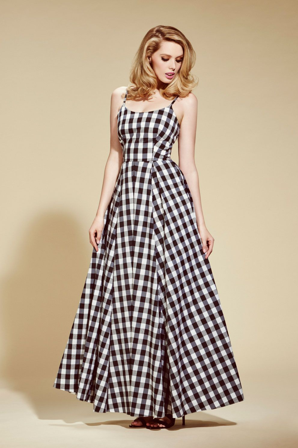 73afcdcfbae Priscilla Black   White Gingham Maxi Dress