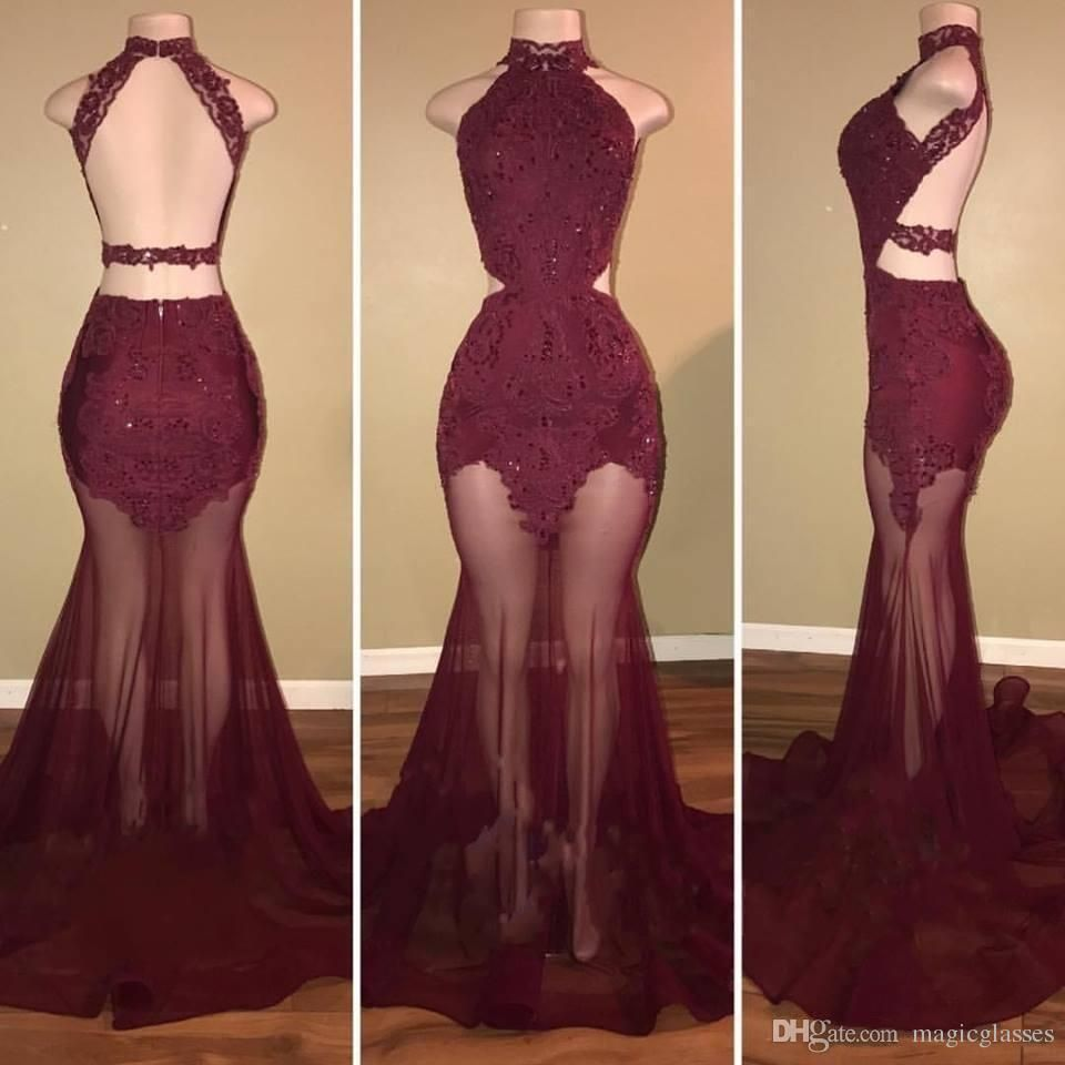 Gold Prom Dresses Halter Backless Lace