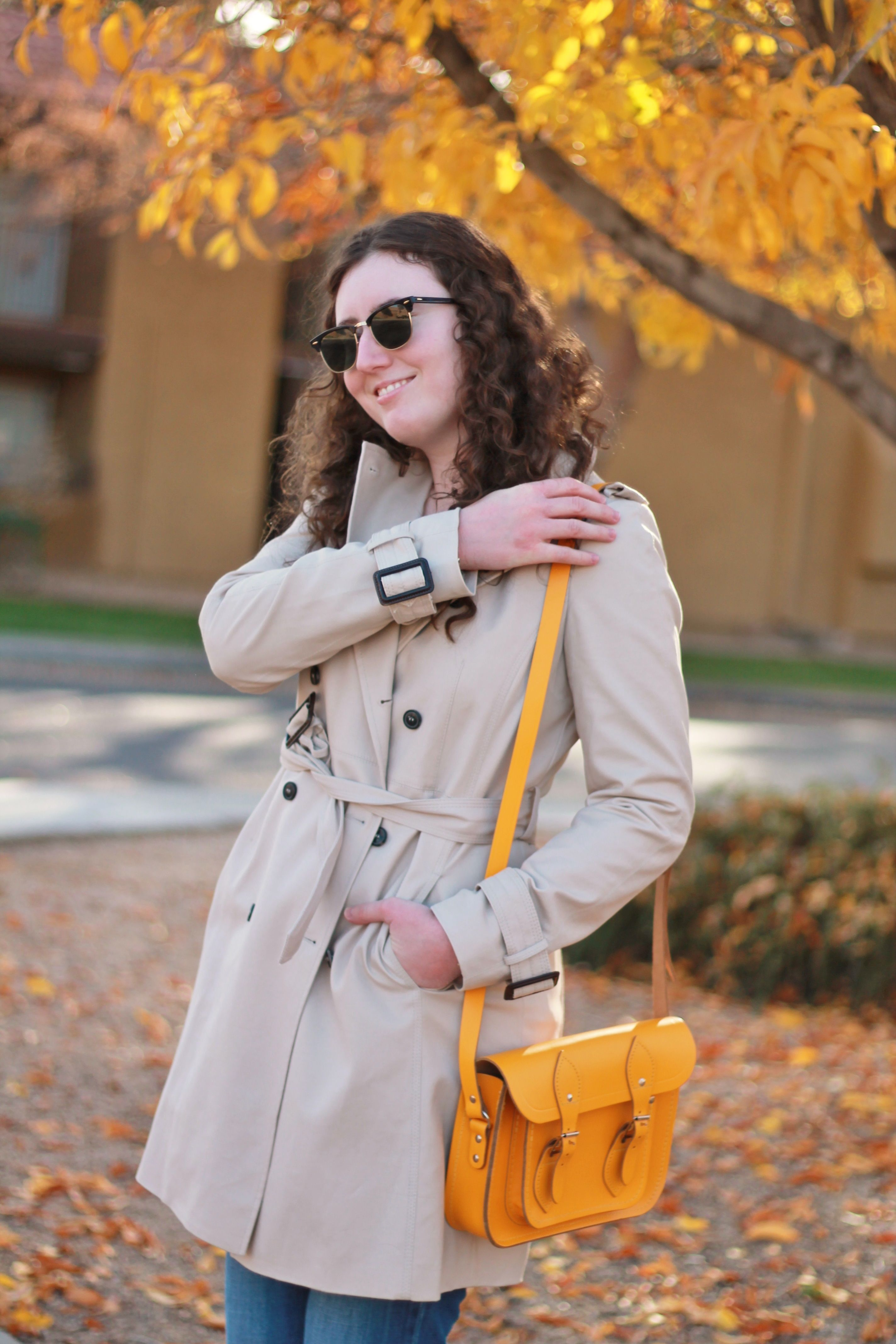 Trench coat, yellow bag