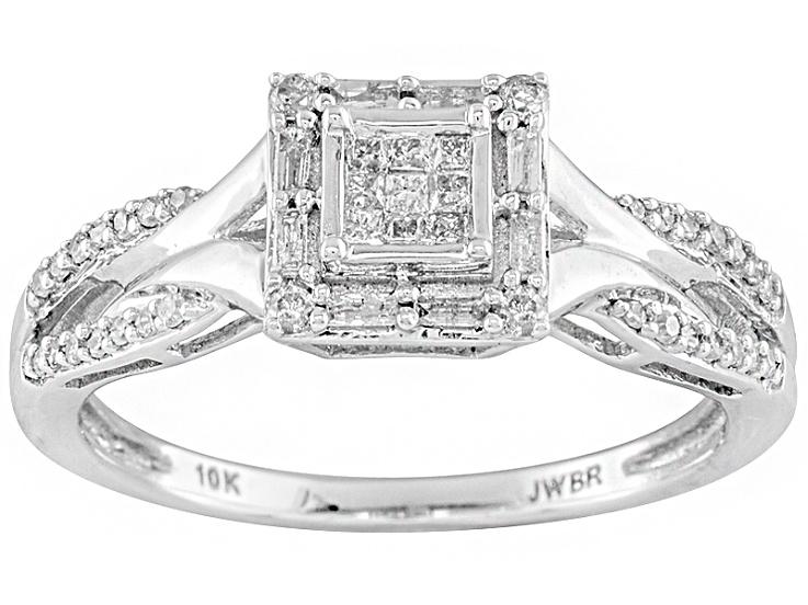 Diamond 10k White Gold Ring 25ctw White Gold Rings Rings White Gold