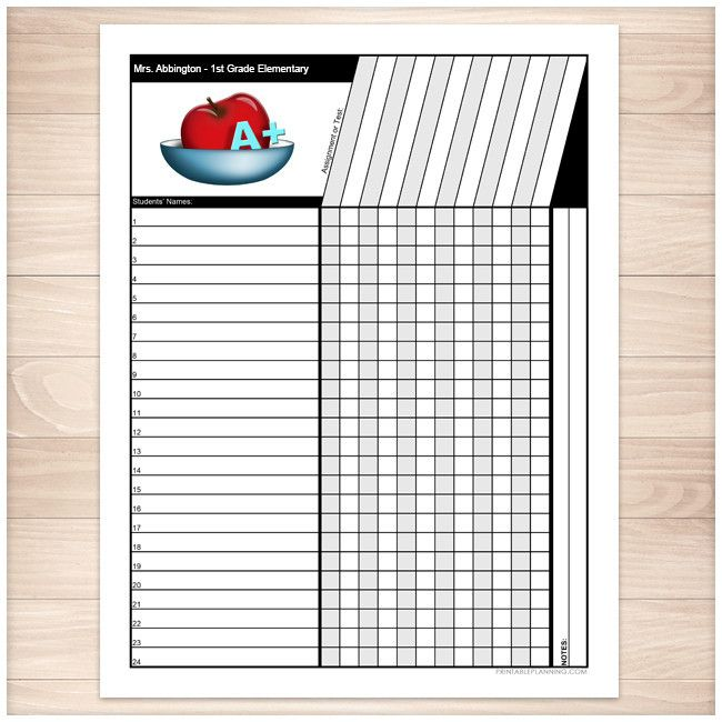 Teacheru0027s Grade Sheet - Grade School Elementary Apple - Printable - gradebook template