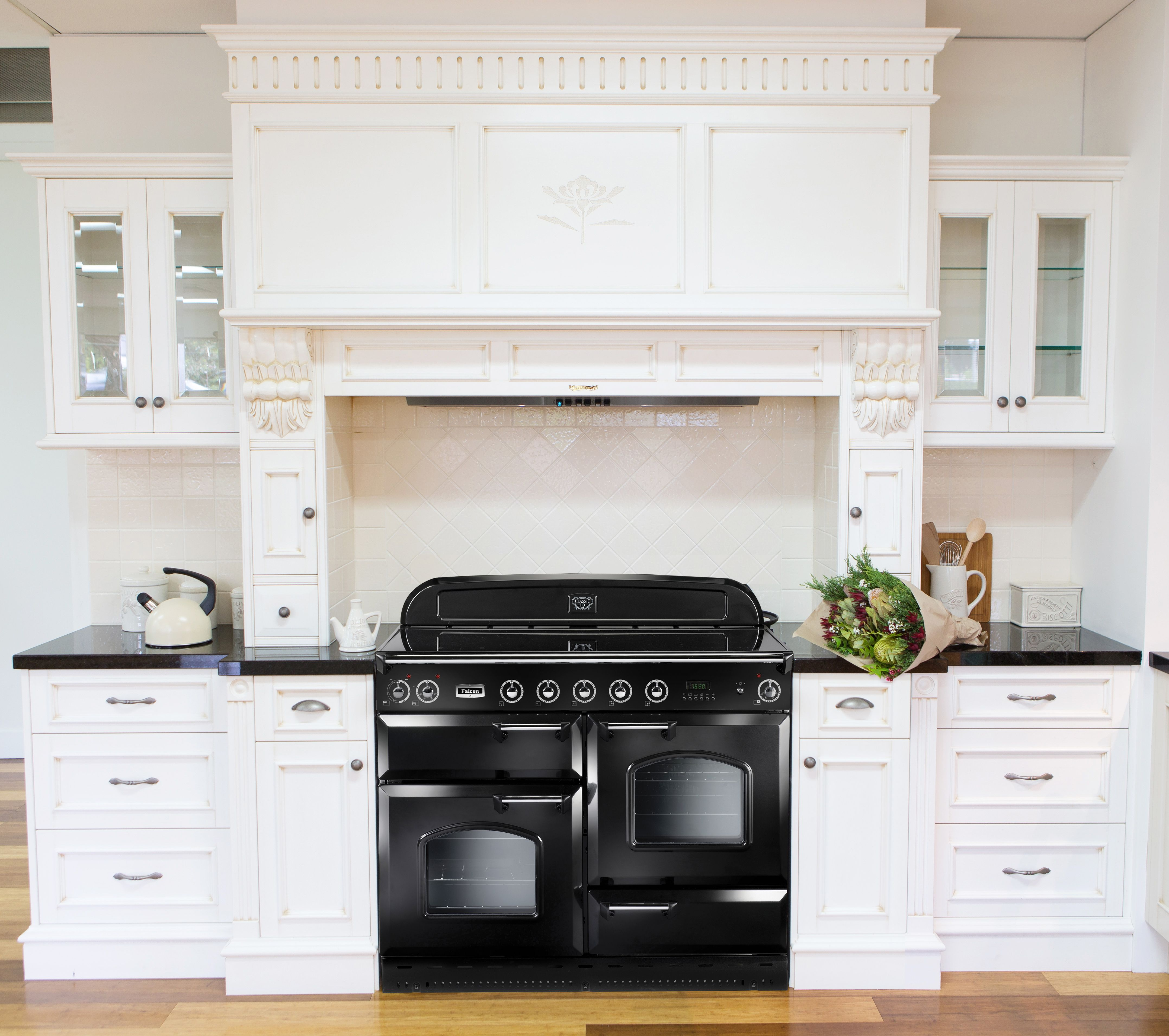 Falcon Classic 110cm Induction Upright Range Cookers Feature Five White Cream In Cooker Cooking Zones Double Electric Side Opening Ovens A Separate Grill And