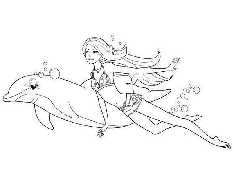 Barbie Coloring Pages Merliah In 2020 Dolphin Coloring Pages