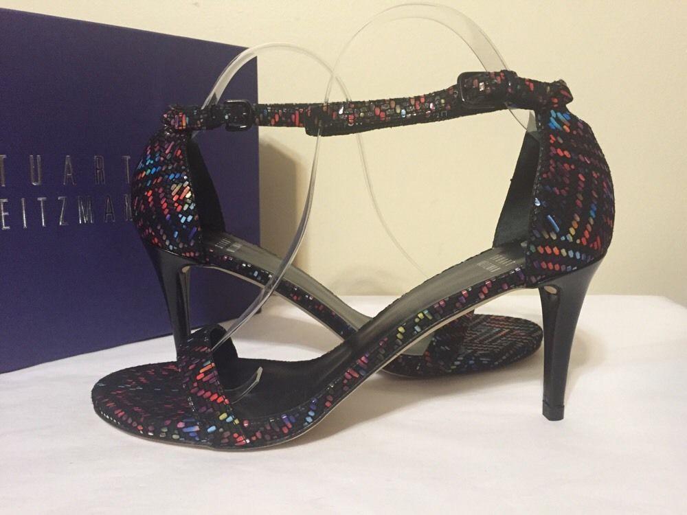Stuart Weitzman Nunaked Black Goose Bump Nappa Leather Women's Heels Sandals  9.5 #StuartWeitzman #FashionAnkleStrapHeelsSandals #BridalorWeddingEve…