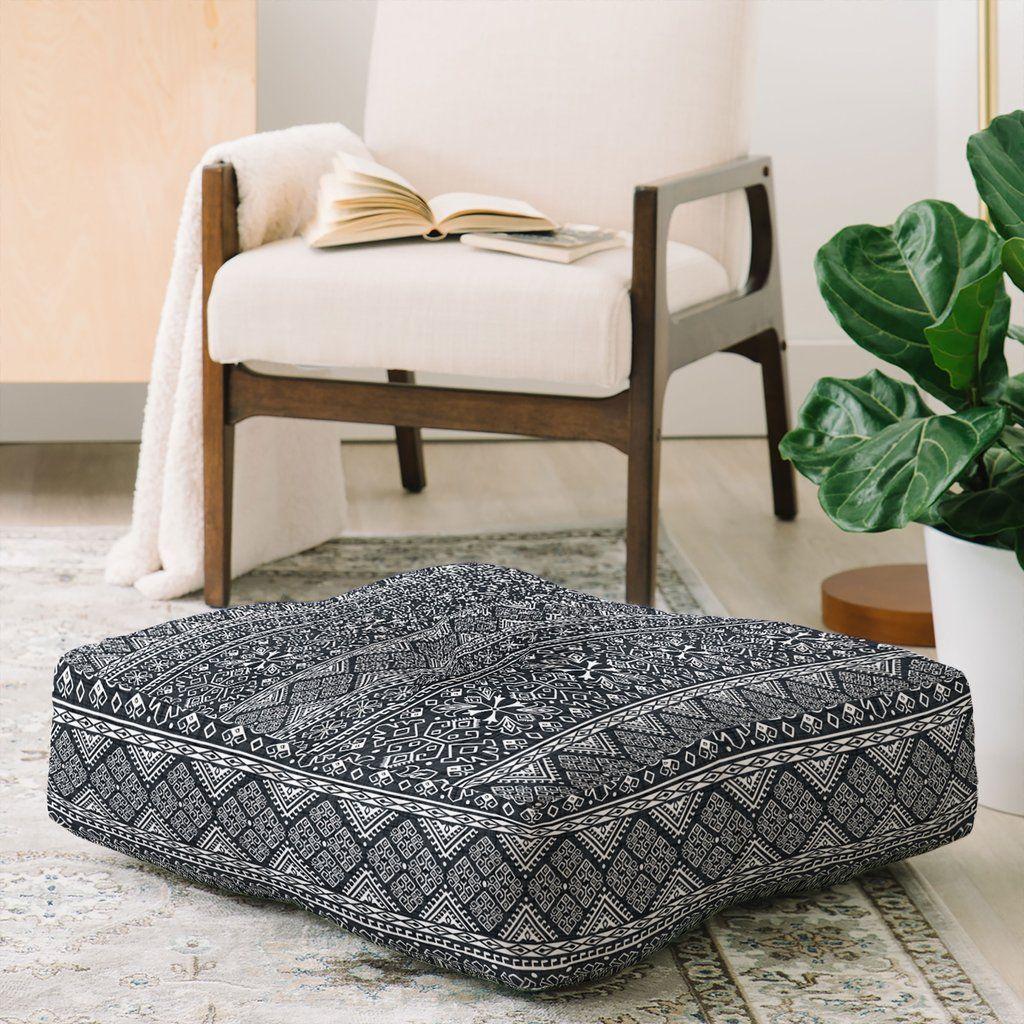 Grand bazaar slate linen floor pillow square heather