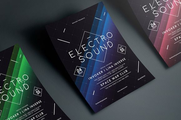 Electro Space Sound Flyer Creativework  Flyer Templates