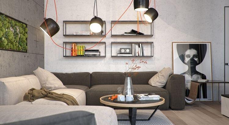 Vertikaler Garten Wohnzimmer Industrial Stil Betonwaende Poster  Strahler Couches Grau Anthrazit Wandregale