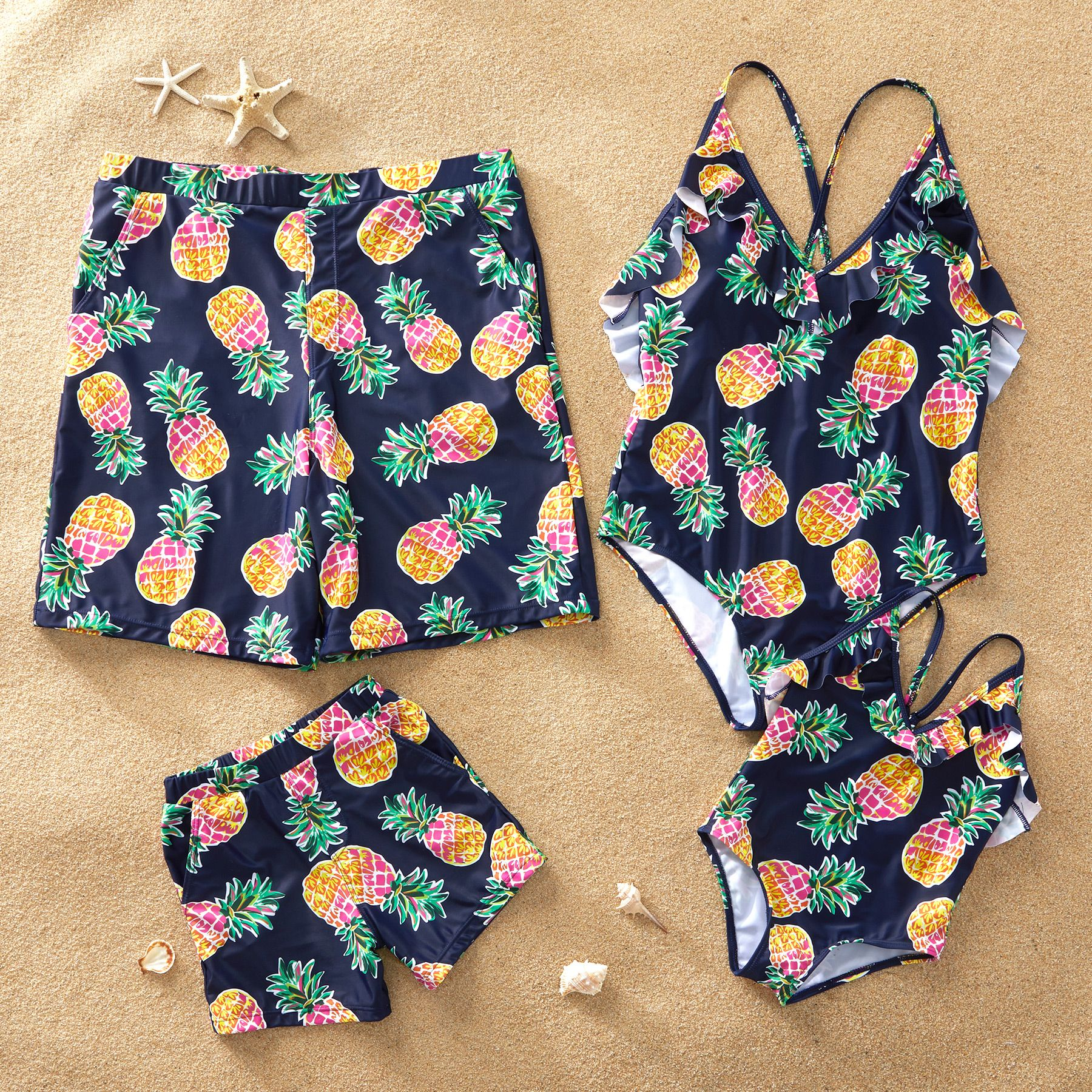 Yaffi Family Swimwear Newest One Piece Hollow Out Bathing Suit Pineapple Bowknot