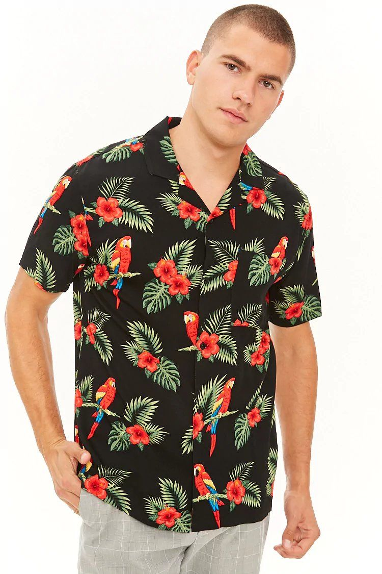 d828364a5a2 Product Name:Tropical Floral & Parrot Print Shirt, Category:mens ...
