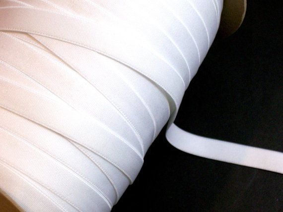 White Elastic Band Ribbon 1/2 inch wide x 11 yards, Lingerie, Bra Strap Elastic