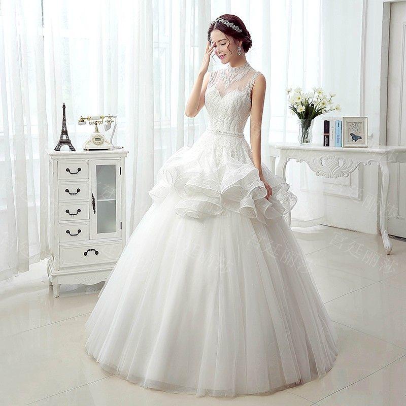 Wedding dress 2016 spring and summer new ultra flash sexy bandage dress Korean version of the bride trailing wedding xj55379- Taobao global Station