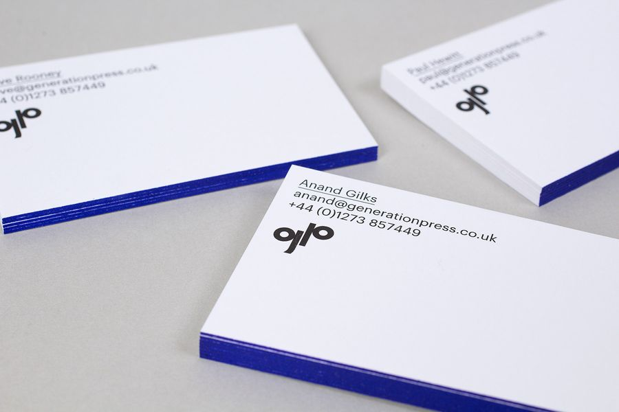 New brand identity for generation press by build bpo business business cards with blue edge painted detail for print production company generation press designed by build colourmoves Gallery