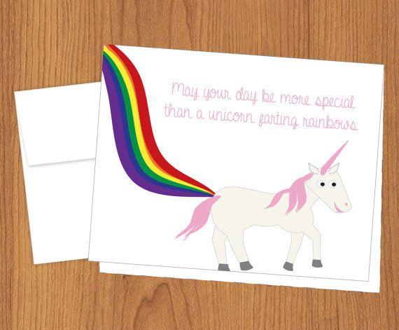 Unicorn Farting Rainbows Birthday Card  Funny di PlumaPaper