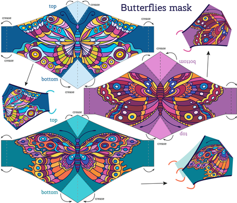 Photo of Colorful fabrics digitally printed by Spoonflower – Butterflies face mask