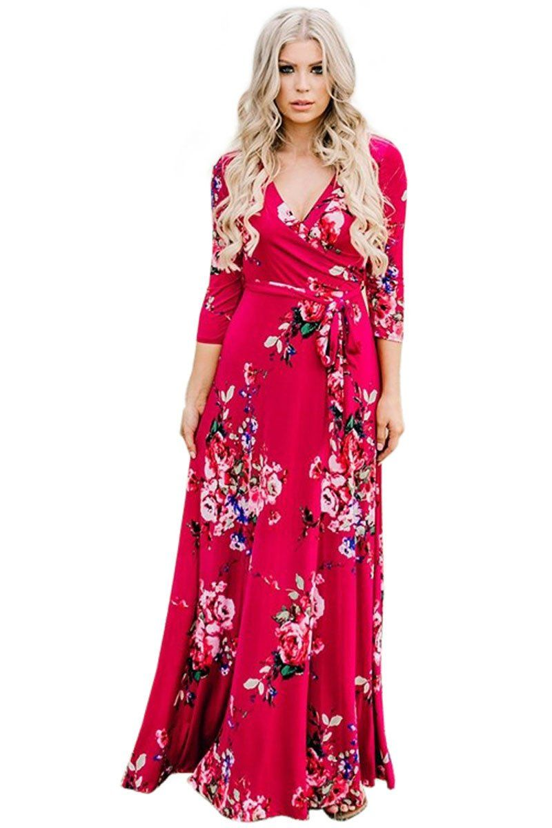 3 4 Sleeve V Neck Wrapped Scarlet Long Floral Dress Modeshe Com Boho Dresses Long Floral Dresses Long Maxi Dresses Casual [ 1200 x 800 Pixel ]