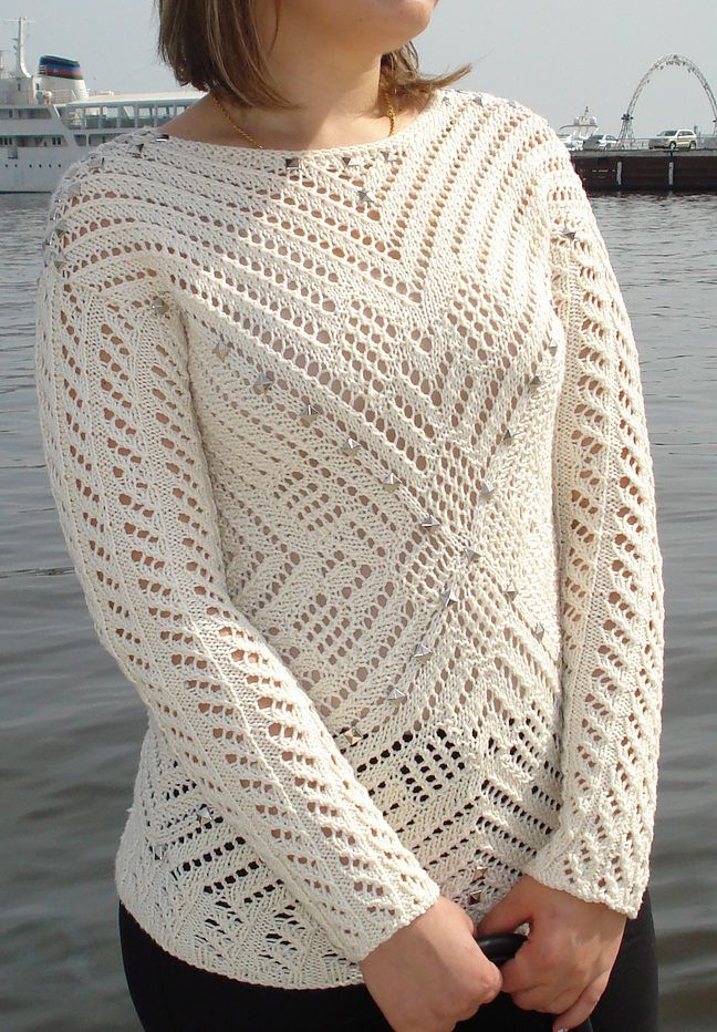 Lace Pullover Free Knitting Patterns | Puntos de aguja, Blusas y ...