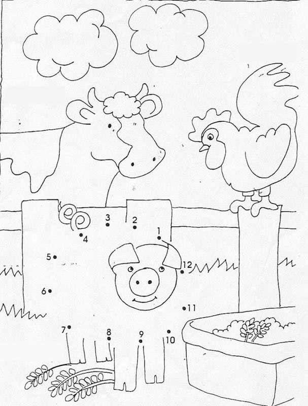Animals Dot To Dot Farm Animals Dot To Dot Game Farm Animals Pictures Animal Pictures To Color Farm Animals Activities