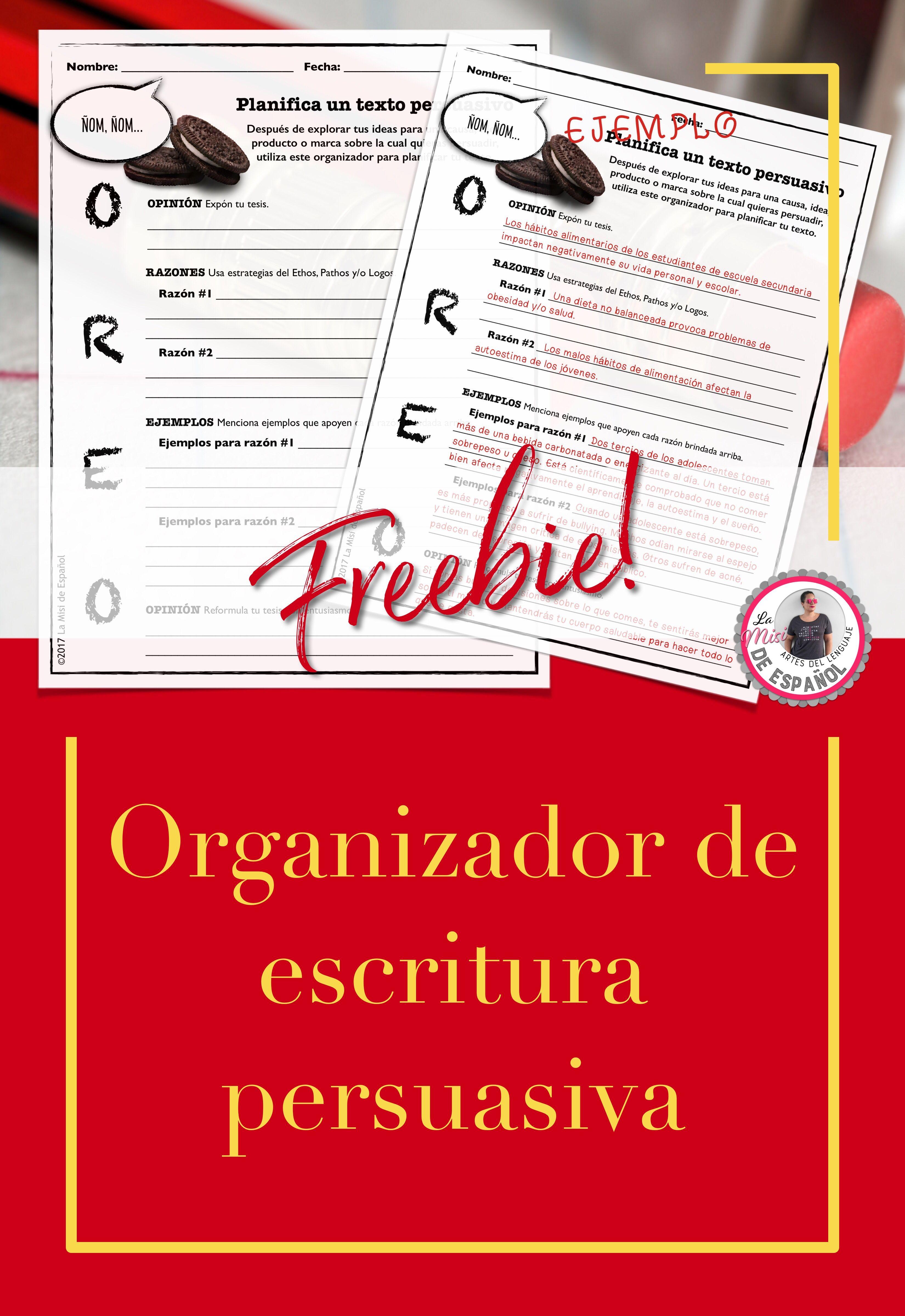 Organizador de escritura persuasiva Oreo gratis en español | Spanish ...