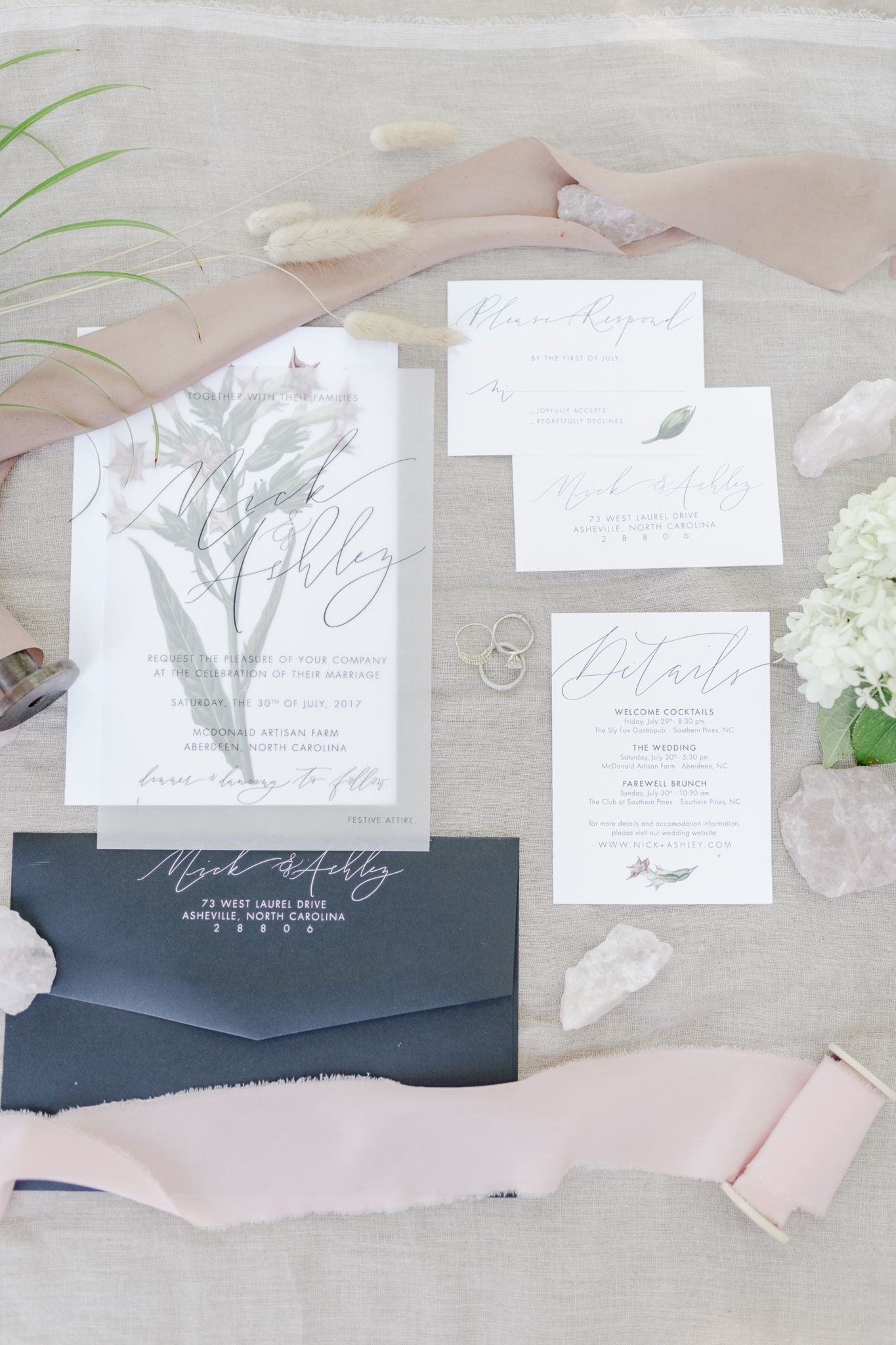 Gorgeous Grey And White Invitation Suite Raleigh Durham Wedding