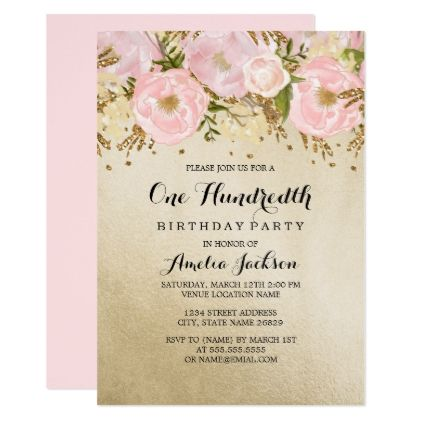 Pretty blush gold pink floral 100th birthday card pretty blush gold pink floral 100th birthday card birthday invitations diy customize personalize card party filmwisefo