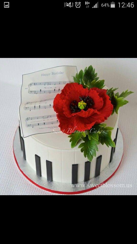 Klavier und Anemone Geburtstagstorte