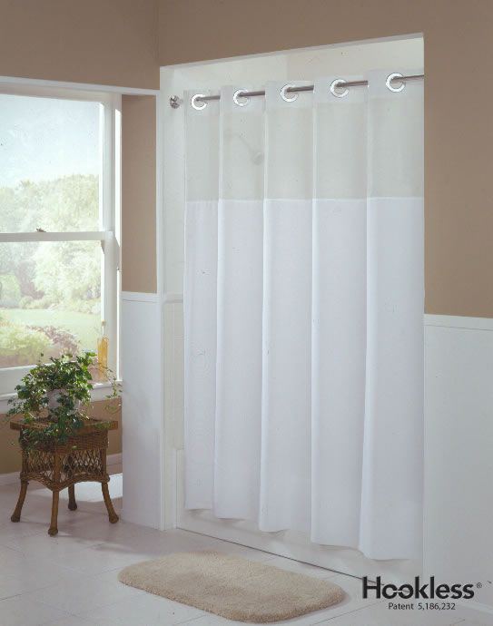 Mystery White Hookless Shower Curtain 32 95 Hookless Shower