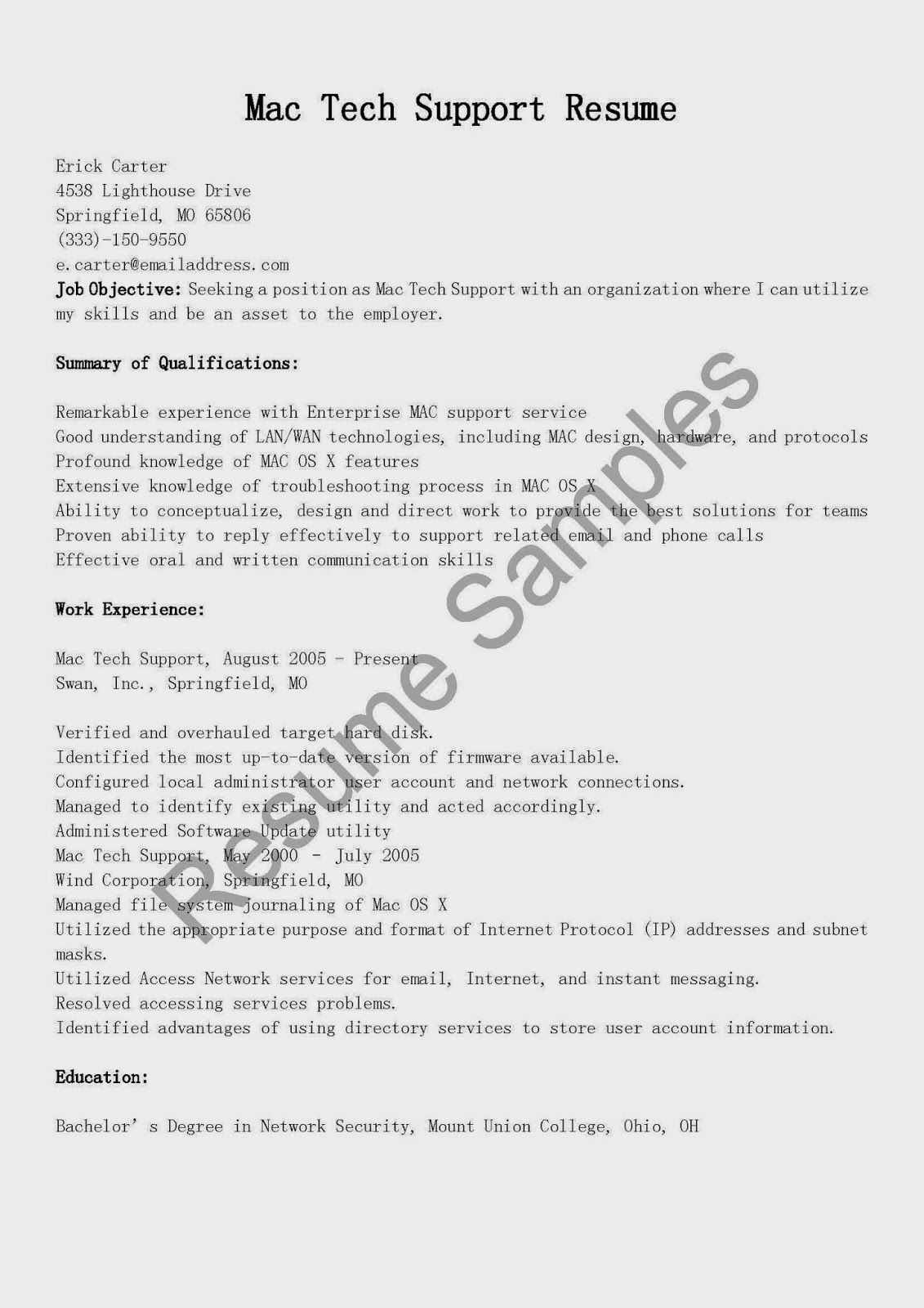 Mac Tech Support Resume Sample