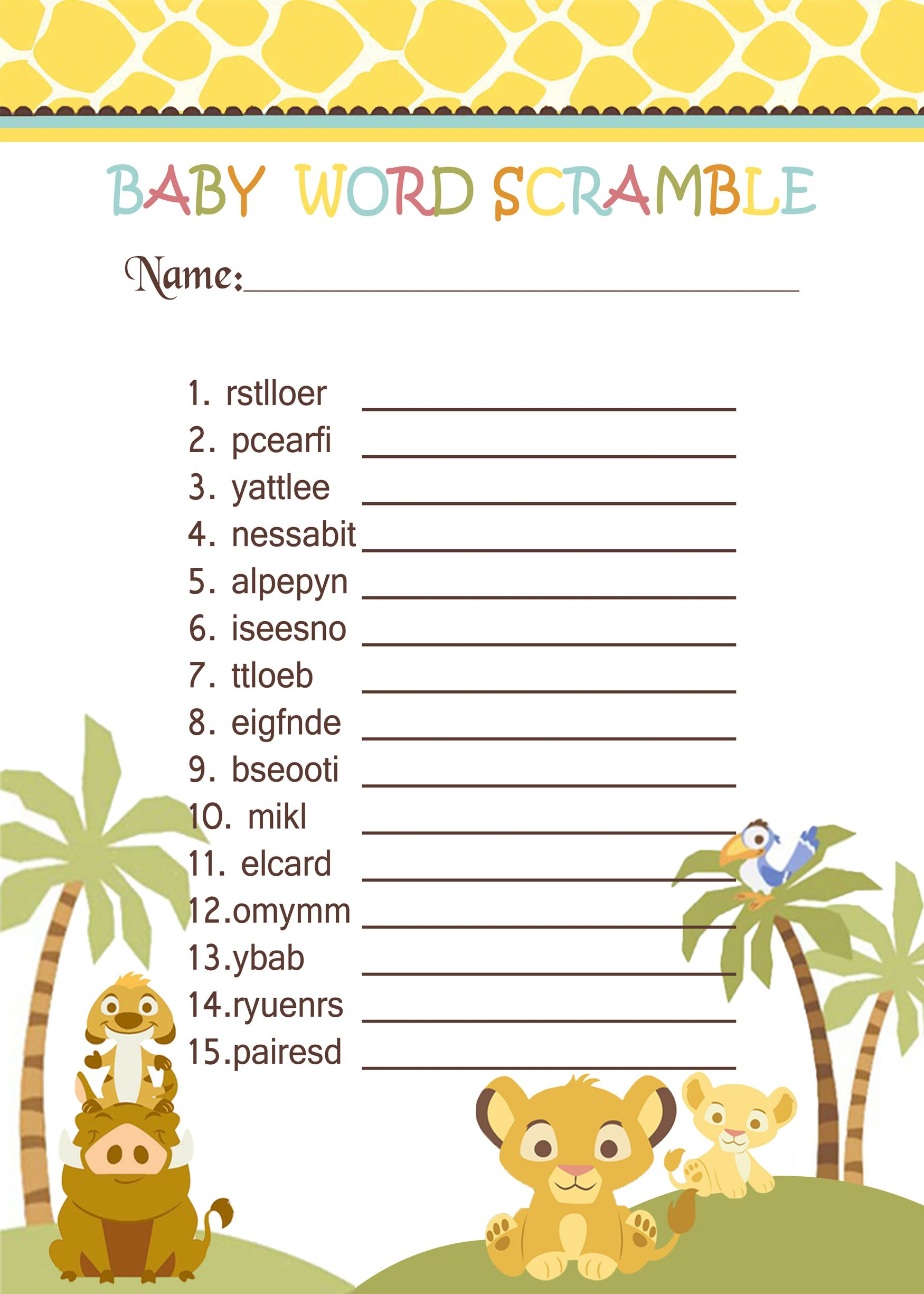 Simba Lion King Baby Shower Games Word Scramble $3 99