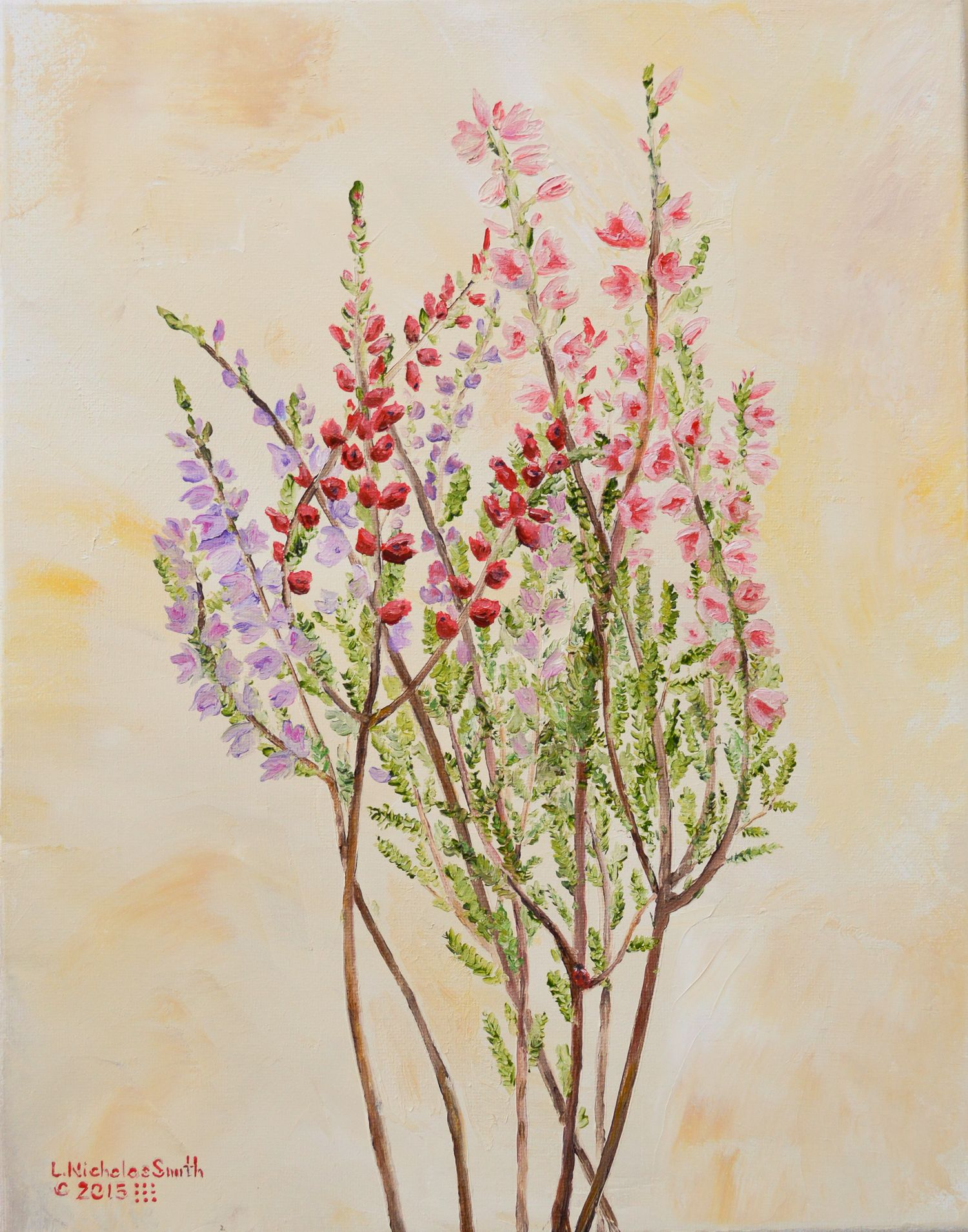 January Bouquet 11 X 14 Oil On Canvas C L Nicholas Smith Botanical Assortment Of Heather Flowers With Bouquet Series Art Oil On Canvas Oil Painting