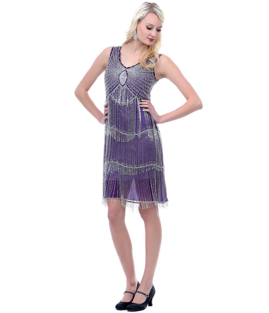 Purple & Silver Beaded Fringe Flapper Dress