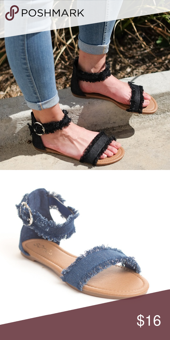3bb28fabe23 Women s Ankle Strappy Open Toe Flat Sandals Material  Denim Heel Height   approx .5