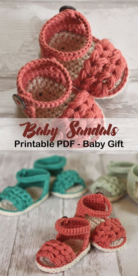 Make a cute pair of baby sandals. Baby Sandals Crochet Patterns -Adorable Gifts - A More Crafty Life #baby #crochet #crochetpattern #affiliate #crochetbraids