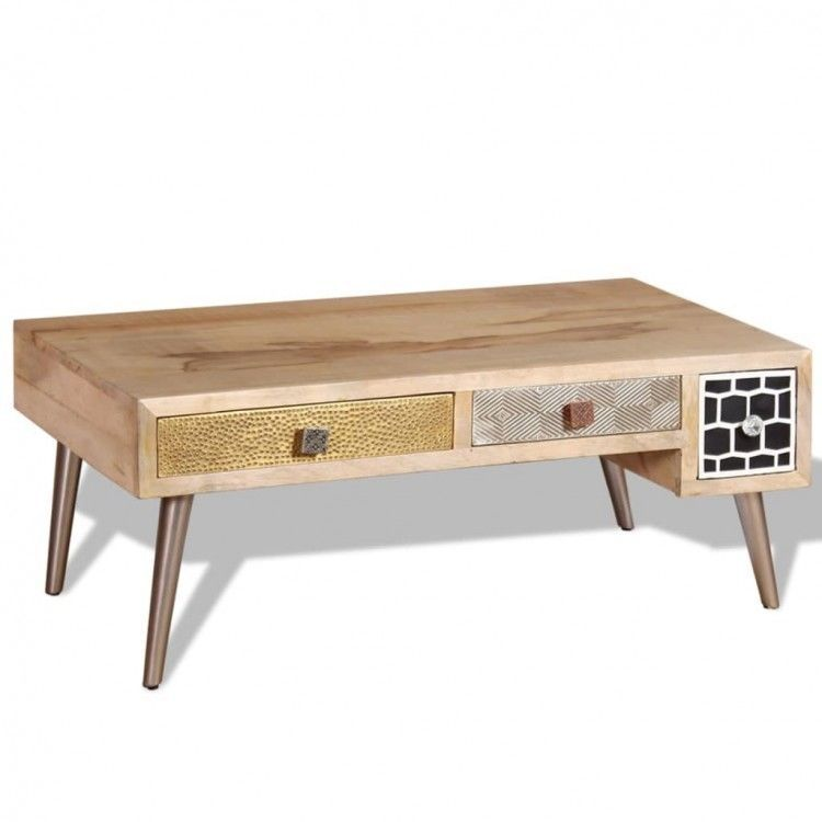 Details About Coffee Table Wooden Drawers Vintage Storage
