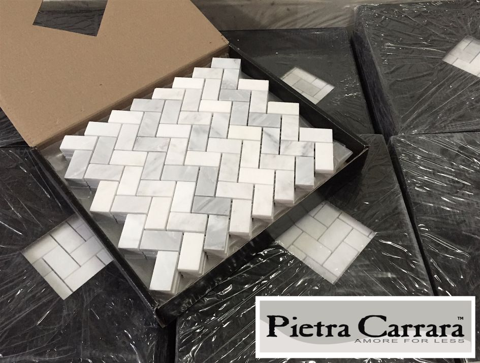 Pietra Carrara Herringbone | bathroom | Carrara, Carrara ...