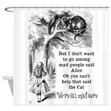 Vintage Alice In Wonderland Cat Shower Curtain By Zenandchic