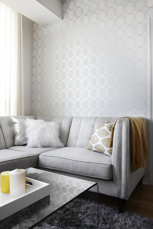 Modern Wallpaper Designs For Living Room: Contemporary Living Room With Gray Couch, Yellow Accents