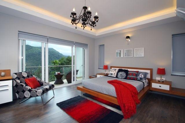 indirekte beleuchtung schlafzimmer decke led schwarz rot grau - schlafzimmer beleuchtung led