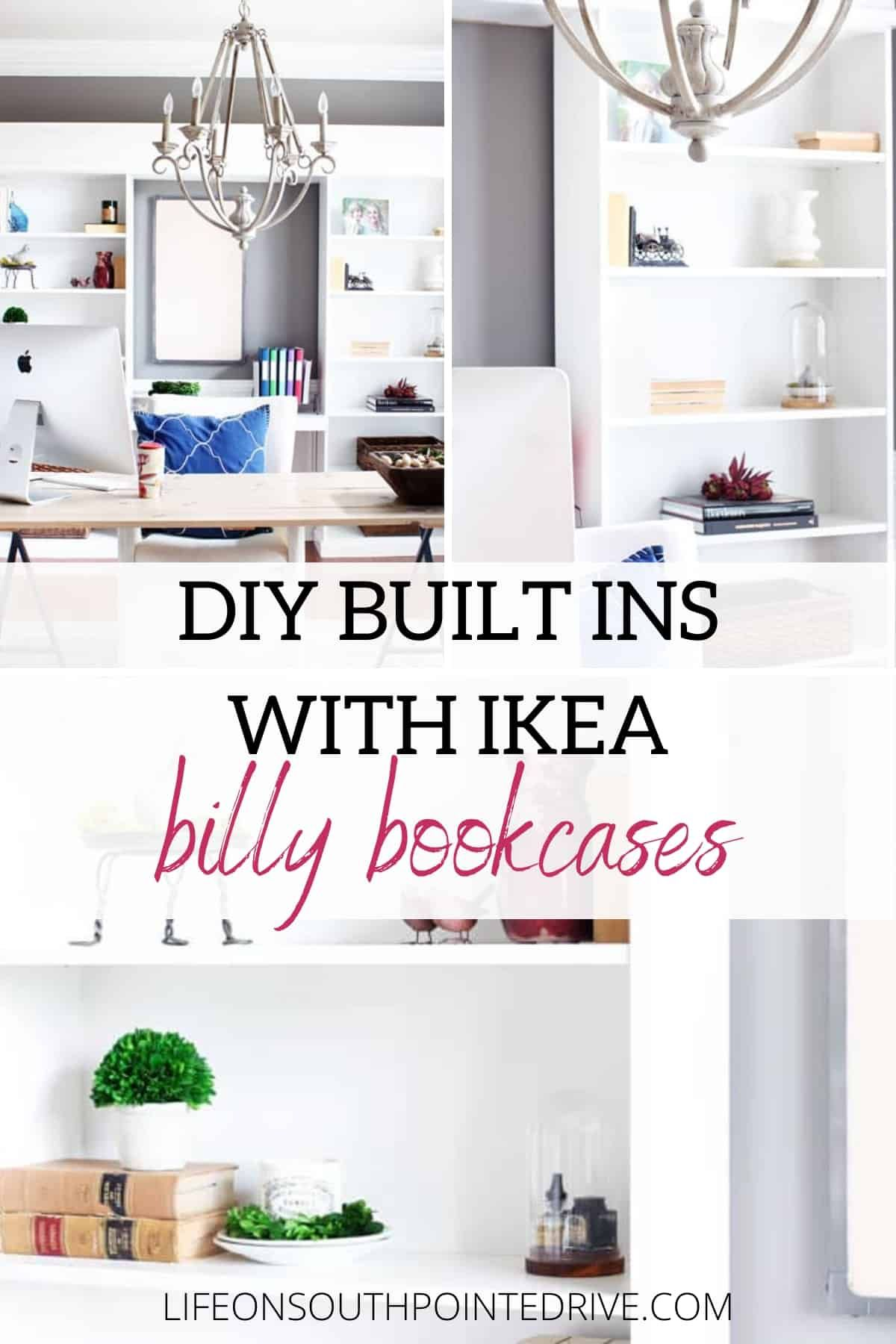 Diy Built Ins With Ikea Billy Bookcases Life On Southpointe Drive In 2020 Bookcase Diy Ikea Billy Bookcase Thrift Store Furniture Makeover Diy
