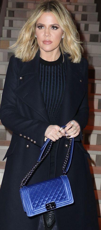 e1bd6bf573f113 Khloé Kardashian carrying a blue Chanel Velvet Boy Bag | Purseblog #khlo