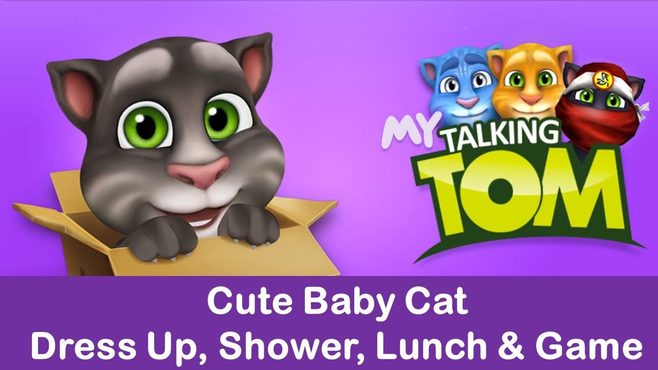 Baby Talking Tom Cat dress up Lunch and Shower Talking