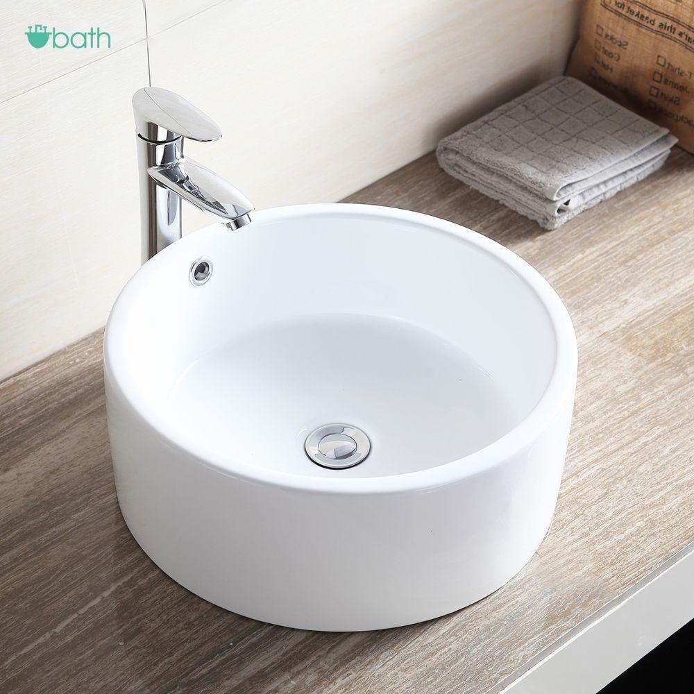 round ceramic vessel sink bowl white
