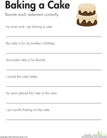 Sentence Correction Worksheets Third Grade: Fix the Sentences  Baking a Cake   English  Reading worksheets and    ,