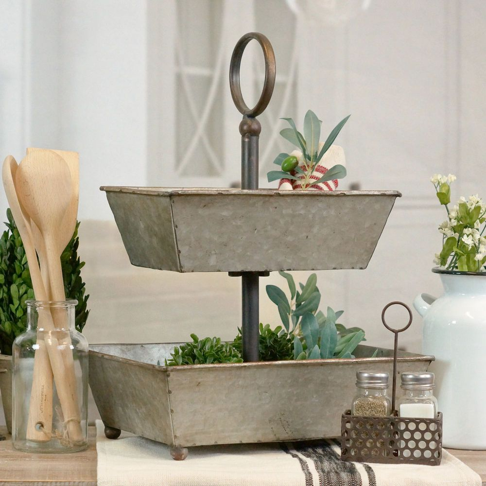 2 Tiered Galvanized Metal Tray With Ball Feet And Handle Decor Ebay Galvanized Metal Trays Tiered Stand Galvanized Tray