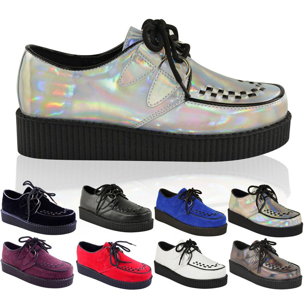 Womens Lace Up Platform Punk Gothic Running Floral Casual Shoes Sneakers Trainer