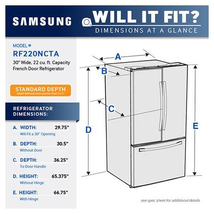 Samsung Rf220nctasr 30 Inch French Door Refrigerator With 22 Cu Ft Capacity High Effi Glass Shelves In Bathroom Tempered Glass Shelves Glass Shelves Kitchen