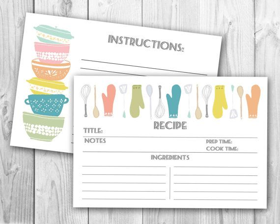 Modern Stackabowls Recipe Cards PRINTABLE FILE by OhHappinessCards - recipe card