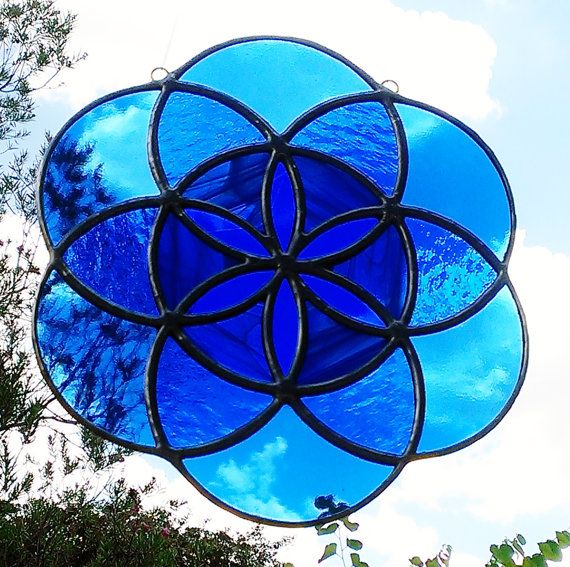 Seed Of Life Sacred Geometry Blue Mandala Stained Glass