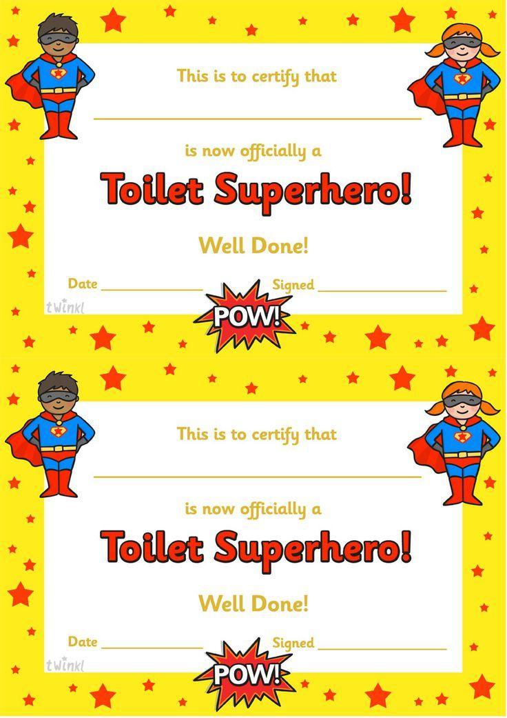classroom certificate template - twinkl resources toilet superhero certificate