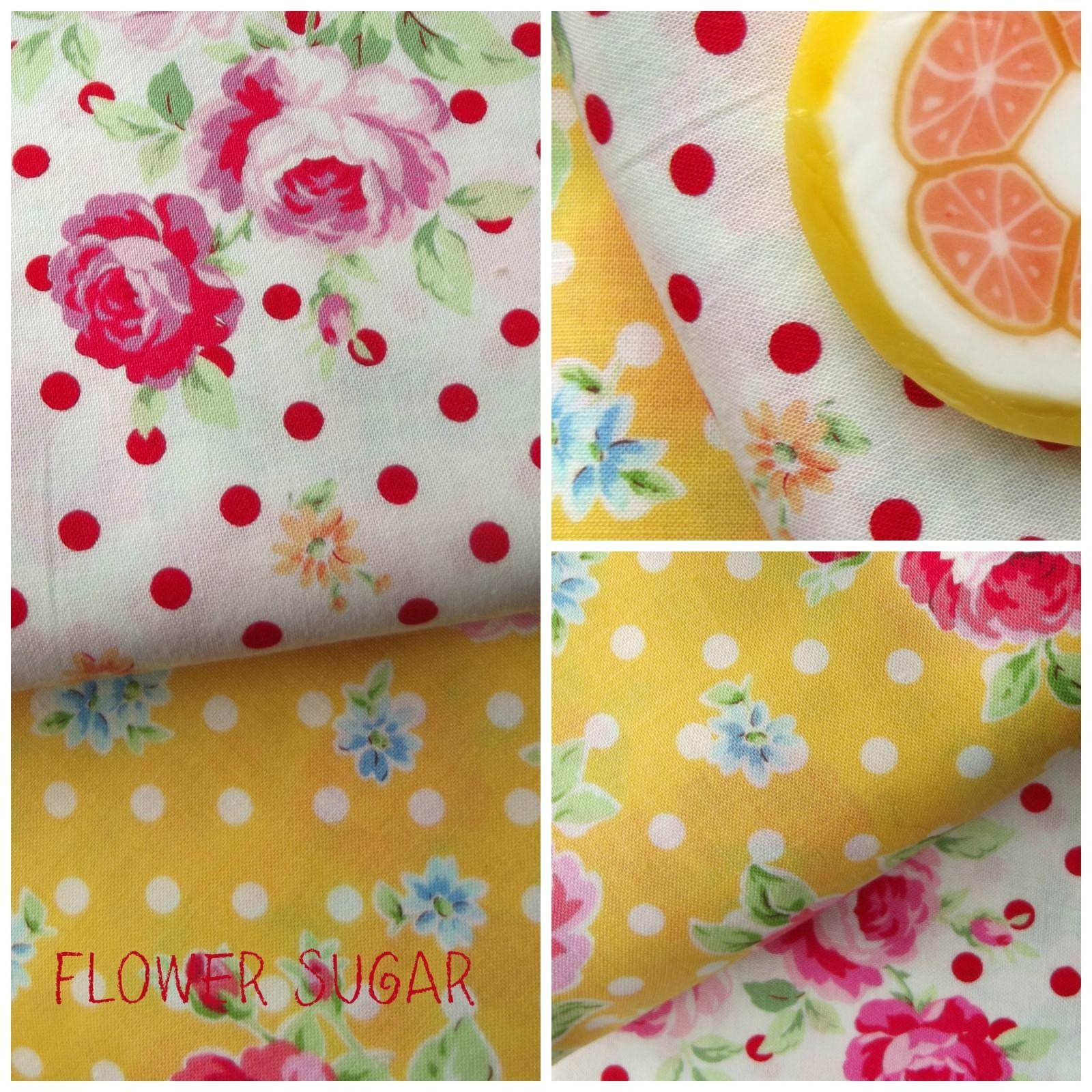 telas flower sugar de lecien, una combinación de telas de topitos y flores